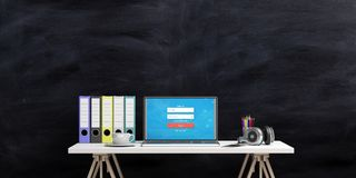 Office desk on a blackboard background. 3d illustration Stock Photo