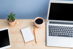 Office desk with blank screen  laptop, Note paper, Euphorbia milii flower on terracotta flower pot. Stock Image