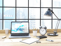 Office desk buildings background Royalty Free Stock Images