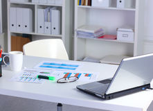 Office desk and a bundle of documents.  stock image