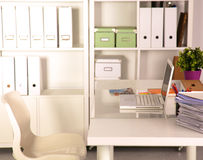Office desk and a bundle of documents Stock Image