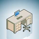 Office Desk with Chair. (part of the Modern Furniture Isometric 3D Icons Set Stock Photo