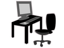 Office desk with chair. In black and white, flat screen, monitor, keyboard and mouse Stock Photography