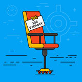 Office or desk chair with hiring message table. Vacant seat. Or vacancy concept. Recruitment HR symbol advertisement. Job search or employment creative vector illustration