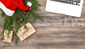 Office desk Christmas decoration gifts stock photos