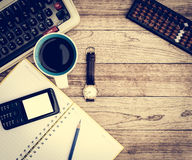 Office desk with coffee background Stock Photos