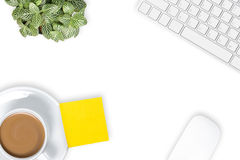 Office desk with coffee cup. Stock Photo