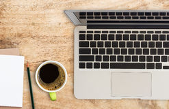 Office desk with coffee cup and pencil. Royalty Free Stock Photos