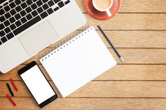 Office desk concept with laptop Royalty Free Stock Photos