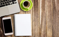 Office desk concept notebook and coffee Stock Photography