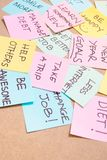 Office desk covered by post it papers with different notes stock photo