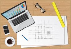 Office desk equipment business economy. Items computer plans diagram workplace Royalty Free Stock Image