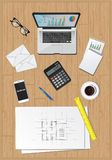 Office desk equipment business economy. Items computer plans diagram workplace Stock Photography