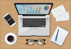 Office desk equipment business economy. Items computer plans diagram workplace Royalty Free Stock Images