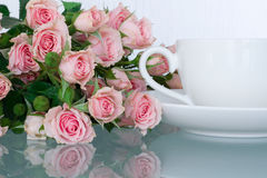 Office desk feminine. With roses Stock Photography