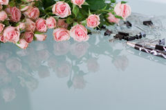Office desk feminine. With roses Royalty Free Stock Photos