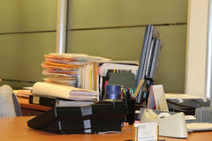 Office Desk with Files and Computer Royalty Free Stock Photography