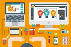 Office desk flat design concept Stock Image