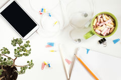 Office desk. Flat lay white background. Royalty Free Stock Image
