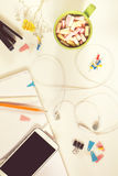 Office desk. Flat lay white background. Royalty Free Stock Photo