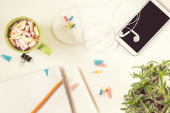 Office desk. Flat lay white background. Royalty Free Stock Images