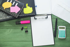 Office desk, flat lay Royalty Free Stock Images