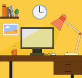 Office desk. In flat style Royalty Free Stock Photography