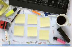 Office Desk, Free Copy Space On Sticky Notes Stock Images