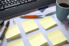 Office desk, free copy space on sticky notes Royalty Free Stock Photo