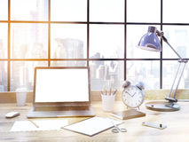 Office desk front toning Stock Photos