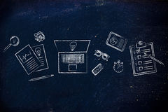 Office desk full of ideas Royalty Free Stock Image