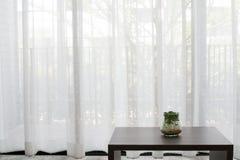Office desk with  garden plant on glass vase on white drape back Royalty Free Stock Image