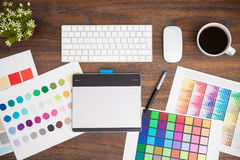 Office desk of a graphic designer stock image