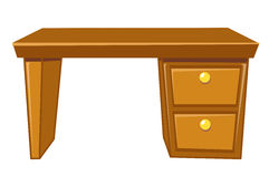 Office desk isolated. Illustration on white background Royalty Free Stock Photography