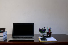 Office Desk with Laptop Stock Photo