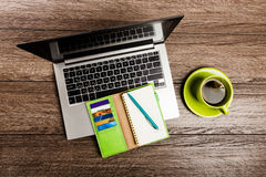 Office desk with laptop computer Royalty Free Stock Images