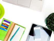 Office desk with laptop computer, tablet pc, planner, pen Royalty Free Stock Images