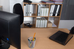 Office desk with laptop, job, redundant, business concept Royalty Free Stock Photography