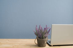 Office desk with Laptop and Purple lavender flower. Stock Photography