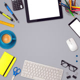 Office desk mock up template background with tablet, smartphone and office items Royalty Free Stock Photos