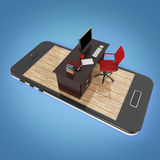 office desk with monitor keyboard armchair  and mouse on smartphone screen . Concept of mobile office, online outsource wo Royalty Free Stock Photos