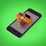 office desk with monitor keyboard armchair  and mouse on smartphone screen . Concept of mobile office, online outsource wo Royalty Free Stock Image