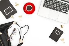 Office desk Notebook coffee feminine accessories Fashion flat la Stock Photography