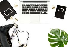 Office desk Notebook green leaf Fashion flat lay social media Royalty Free Stock Photography
