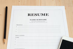 Office desk with resume information . Royalty Free Stock Photo