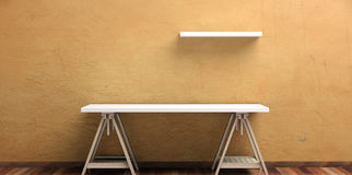 Office desk and self on a wooden floor -  stucco painted wall. 3d illustration Royalty Free Stock Photography