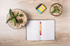 Office desk with stationary. Wooden office desk with stationary and flowerpot Royalty Free Stock Image