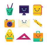 Office Desk Supplies Collection Of Objects With Smily Faces Royalty Free Stock Photo