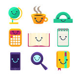 Office Desk Supplies Collection Of Objects With Smily Faces Royalty Free Stock Photography