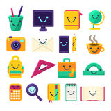 Office Desk Supplies Collection Of Objects With Smily Faces Stock Photography